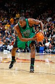 Kendrick Perkins of the Boston Celtics moves the ball to the basket during the game against the Golden State Warriors on December 28 2009 at Oracle...