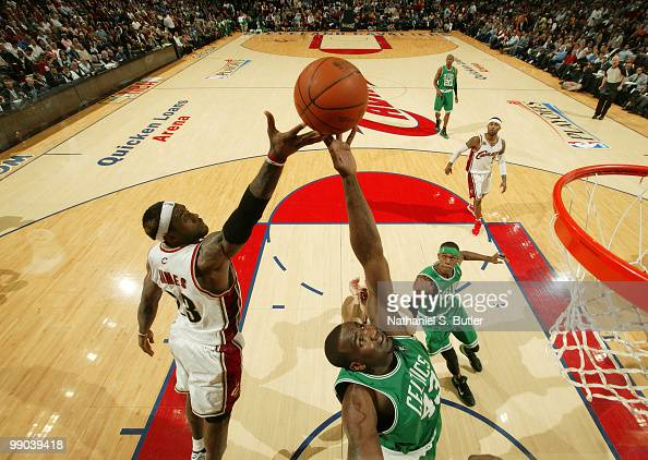 Kendrick Perkins of the Boston Celtics rebounds against LeBron James of the Cleveland Cavaliers in Game Five of the Eastern Conference Semifinals...