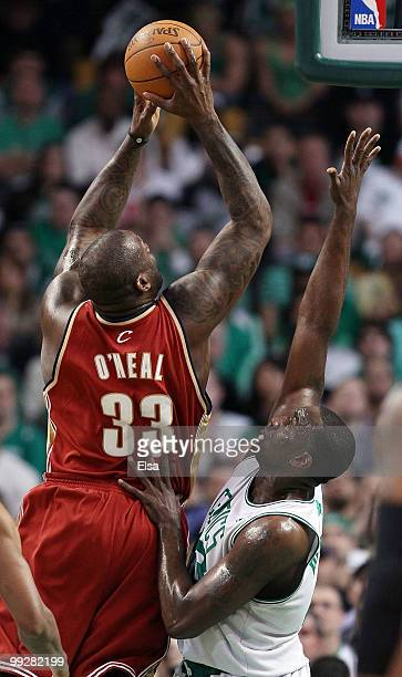 Kendrick Perkins of the Boston Celtics tries to block a shot by Shaquille O'Neal of the Cleveland Cavaliers during Game Six of the Eastern Conference...