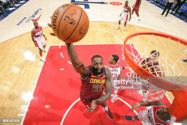 Kendrick Perkins of the Cleveland Cavaliers drives to the basket during the preseason game against the Washington Wizards on October 8 2017 at...