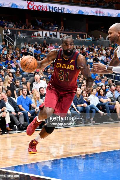 Kendrick Perkins of the Cleveland Cavaliers handles the ball against the Orlando Magic during the preseason game on October 13 2017 at Amway Center...