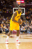 Kendrick Perkins of the Cleveland Cavaliers looks to pass during the second half against the Brooklyn Nets at Quicken Loans Arena on March 18 2015 in...