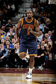 Kendrick Perkins of the Cleveland Cavaliers runs down the court during a game against the Golden State Warriors at The Quicken Loans Arena on...