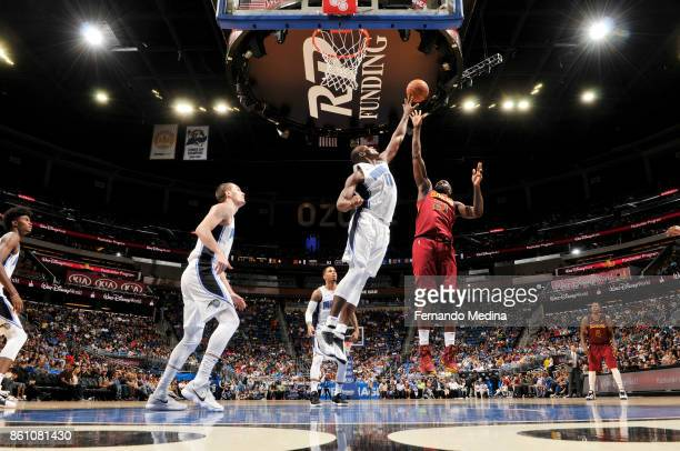 Kendrick Perkins of the Cleveland Cavaliers shoots the ball against the Orlando Magic during the preseason game on October 13 2017 at Amway Center in...