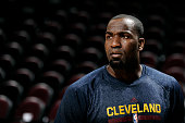 Kendrick Perkins of the Cleveland Cavaliers warms up before a game against the Detroit Pistons at The Quicken Loans Arena on April 13 2015 in...