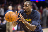 Kendrick Perkins of the Cleveland Cavaliers warms up prior to the game against the Golden State Warriors at Quicken Loans Arena on February 26 2015...