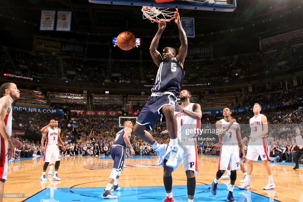 <a gi-track='captionPersonalityLinkClicked' href=/galleries/search?phrase=Kendrick+Perkins&family=editorial&specificpeople=211461 ng-click='$event.stopPropagation()'>Kendrick Perkins</a> #5 of the Oklahoma City Thunder dunks against the Detroit Pistons on November 9, 2012 at the Chesapeake Energy Arena in Oklahoma City, Oklahoma.
