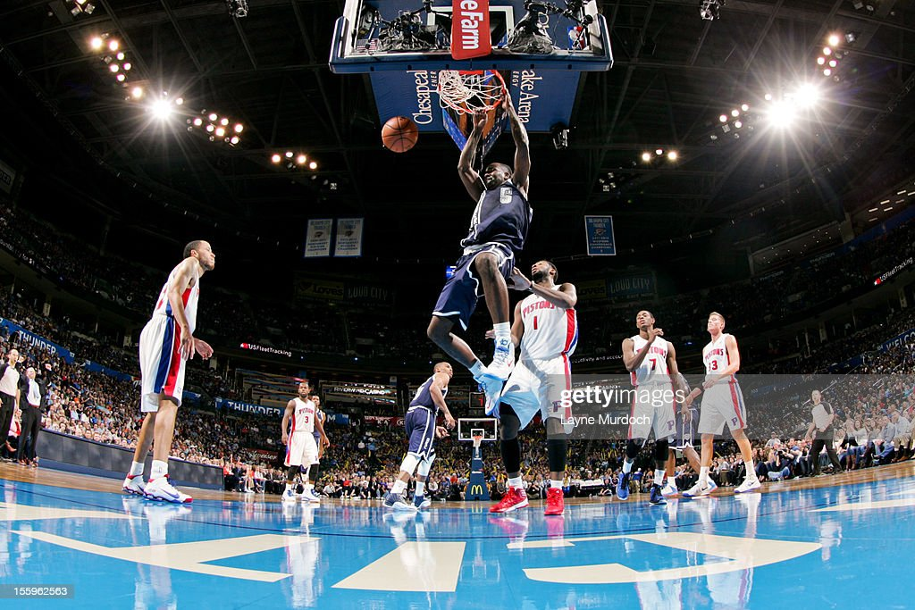 Kendrick Perkins #5 of the Oklahoma City Thunder dunks against the Detroit Pistons on November 9, 2012 at the Chesapeake Energy Arena in Oklahoma City, Oklahoma.