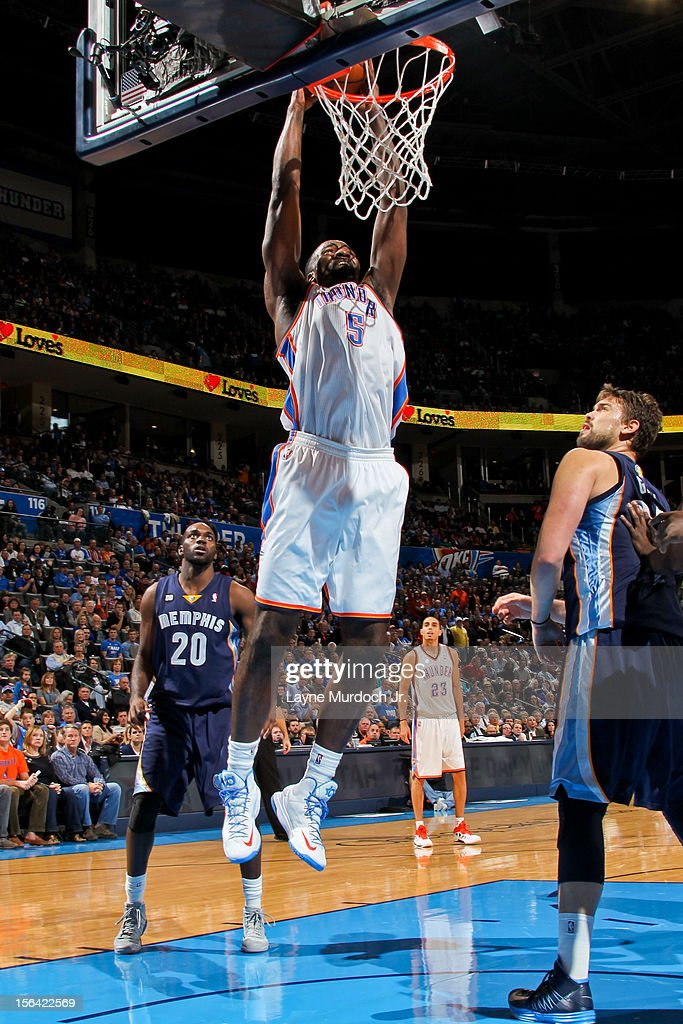 <a gi-track='captionPersonalityLinkClicked' href=/galleries/search?phrase=Kendrick+Perkins&family=editorial&specificpeople=211461 ng-click='$event.stopPropagation()'>Kendrick Perkins</a> #5 of the Oklahoma City Thunder dunks against the Memphis Grizzlies on November 14, 2012 at the Chesapeake Energy Arena in Oklahoma City, Oklahoma.
