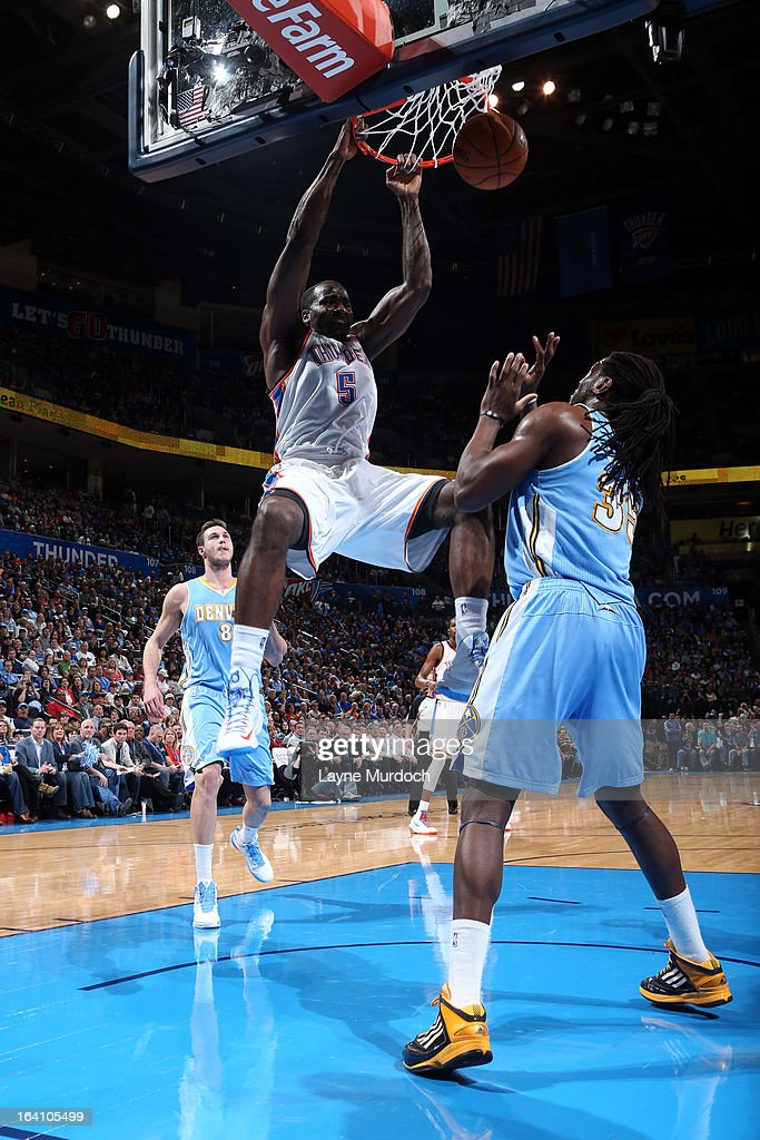 Kendrick Perkins #5 of the Oklahoma City Thunder dunks the ball hard against the Denver Nuggets during an NBA game on March 19, 2013 at the Chesapeake Energy Arena in Oklahoma City, Oklahoma.
