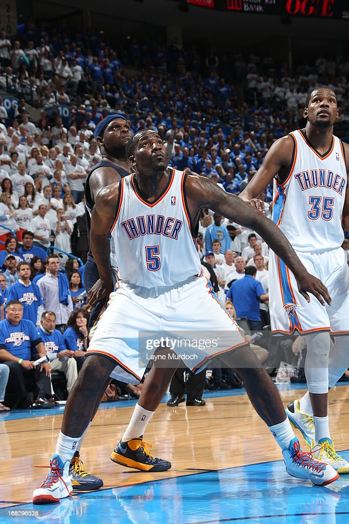<a gi-track='captionPersonalityLinkClicked' href=/galleries/search?phrase=Kendrick+Perkins&family=editorial&specificpeople=211461 ng-click='$event.stopPropagation()'>Kendrick Perkins</a> #5 of the Oklahoma City Thunder fights for position against <a gi-track='captionPersonalityLinkClicked' href=/galleries/search?phrase=Zach+Randolph&family=editorial&specificpeople=201595 ng-click='$event.stopPropagation()'>Zach Randolph</a> #50 of the Memphis Grizzlies in Game Two of the Western Conference Semifinals during the 2013 NBA Playoffs on May 7, 2013 at the Chesapeake Energy Arena in Oklahoma City, Oklahoma.