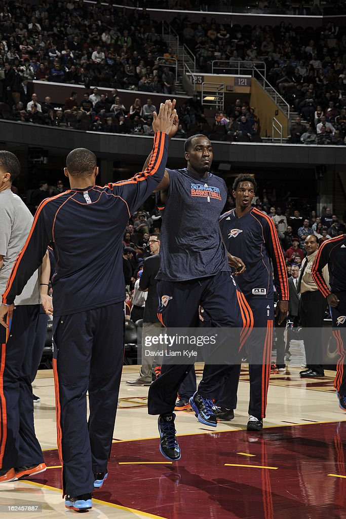<a gi-track='captionPersonalityLinkClicked' href=/galleries/search?phrase=Kendrick+Perkins&family=editorial&specificpeople=211461 ng-click='$event.stopPropagation()'>Kendrick Perkins</a> #5 of the Oklahoma City Thunder gets ready for the game against the Cleveland Cavaliers at The Quicken Loans Arena on February 2, 2013in Cleveland, Ohio.