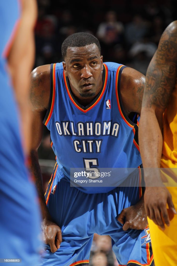 Kendrick Perkins #5 of the Oklahoma City Thunder looks on during a break in play against the Cleveland Cavaliers at The Quicken Loans Arena on February 2, 2013 in Cleveland, Ohio.