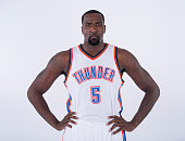 Kendrick Perkins of the Oklahoma City Thunder poses for a portrait during 2014 NBA Media Day on September 27 2014 at the Chesapeake Arena in Oklahoma...