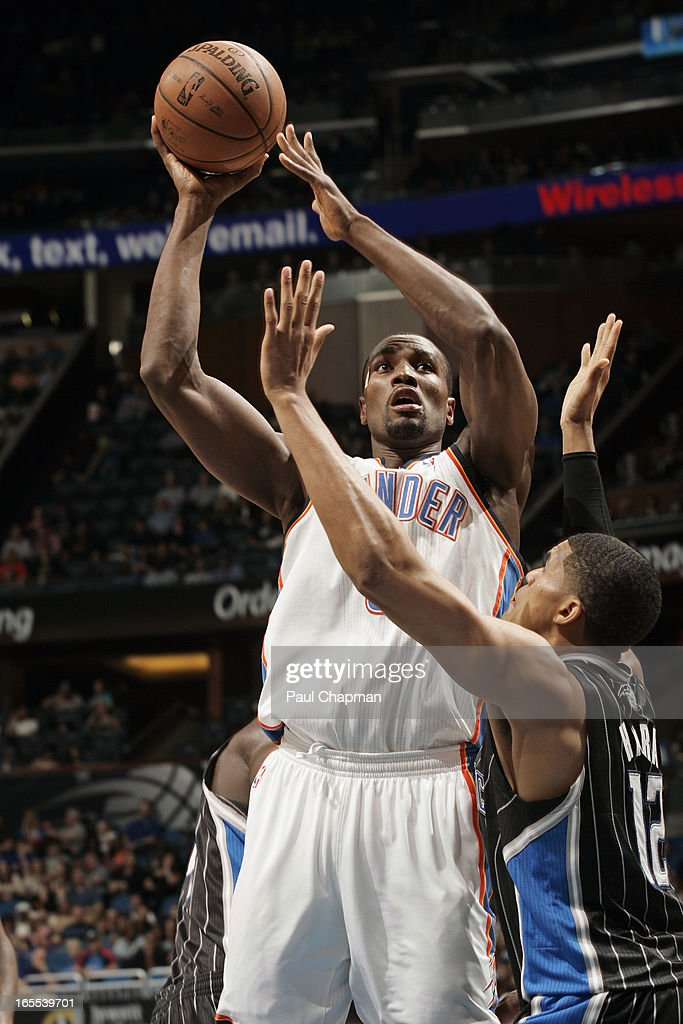 Kendrick Perkins #5 of the Oklahoma City Thunder puts up a shot against the Orlando Magic on March 22, 2013 at Amway Center in Orlando, Florida.