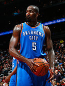 Kendrick Perkins of the Oklahoma City Thunder reacts after a basket by the Atlanta Hawks at Philips Arena on January 23 2015 in Atlanta Georgia NOTE...