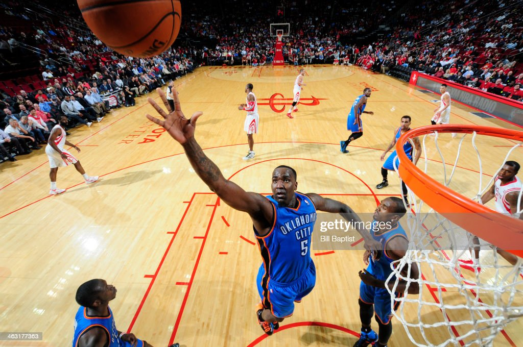 <a gi-track='captionPersonalityLinkClicked' href=/galleries/search?phrase=Kendrick+Perkins&family=editorial&specificpeople=211461 ng-click='$event.stopPropagation()'>Kendrick Perkins</a> #5 of the Oklahoma City Thunder rebounds against the Houston Rockets on January 16, 2014 at the Toyota Center in Houston, Texas.