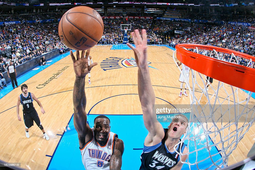 <a gi-track='captionPersonalityLinkClicked' href=/galleries/search?phrase=Kendrick+Perkins&family=editorial&specificpeople=211461 ng-click='$event.stopPropagation()'>Kendrick Perkins</a> #5 of the Oklahoma City Thunder shoots a layup against <a gi-track='captionPersonalityLinkClicked' href=/galleries/search?phrase=Greg+Stiemsma&family=editorial&specificpeople=2098297 ng-click='$event.stopPropagation()'>Greg Stiemsma</a> #34 of the Minnesota Timberwolves on February 22, 2013 at the Chesapeake Energy Arena in Oklahoma City, Oklahoma.