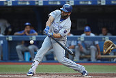 Kendrys Morales of the Kansas City Royals bats in the first inning during MLB game action against the Toronto Blue Jays on July 5 2016 at Rogers...