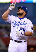 Kendrys Morales of the Kansas City Royals celebrates a single in the fifth inning against the St Louis Cardinals at Kauffman Stadium on May 22 2015...