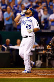 Kendrys Morales of the Kansas City Royals celebrates after hitting a solo home run in the fourth inning against the Houston Astros during game one of...