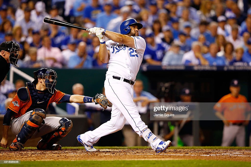 Kendrys Morales #25 of the Kansas City Royals hits a solo home run in the fourth inning against the Houston Astros during game one of the American League Division Series at Kauffman Stadium on October 8, 2015 in Kansas City, Missouri.