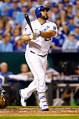 Kendrys Morales of the Kansas City Royals hits a solo home run in the fourth inning against the Houston Astros during game one of the American League...