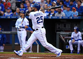 Kendrys Morales of the Kansas City Royals hits a threerun home run in the first inning against the St Louis Cardinals at Kauffman Stadium on May 22...