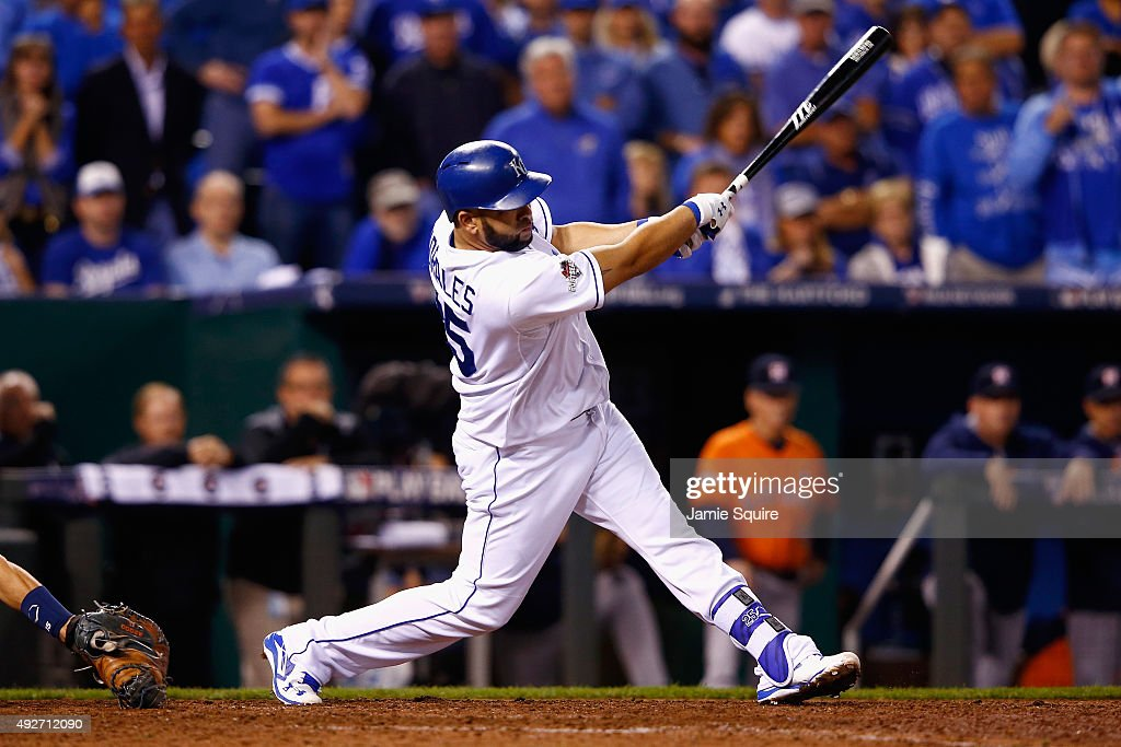 Kendrys Morales #25 of the Kansas City Royals hits a three-run home run in the eighth inning against the Houston Astros during game five of the American League Divison Series at Kauffman Stadium on October 14, 2015 in Kansas City, Missouri.