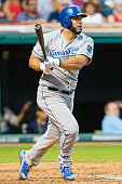 Kendrys Morales of the Kansas City Royals hits a two RBI double during the fifth inning against the Cleveland Indians at Progressive Field on July 27...