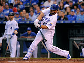 Kendrys Morales of the Kansas City Royals hits a tworun home run in the third inning against the St Louis Cardinals at Kauffman Stadium on May 22...