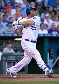 Kendrys Morales of the Kansas City Royals hits a tworun home run against the Boston Red Sox in the fifth inning at Kauffman Stadium on June 20 2015...
