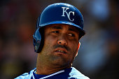 Kendrys Morales of the Kansas City Royals waits on deck during the game against the Texas Rangers at Surprise Stadium on March 5 2015 in Surprise...