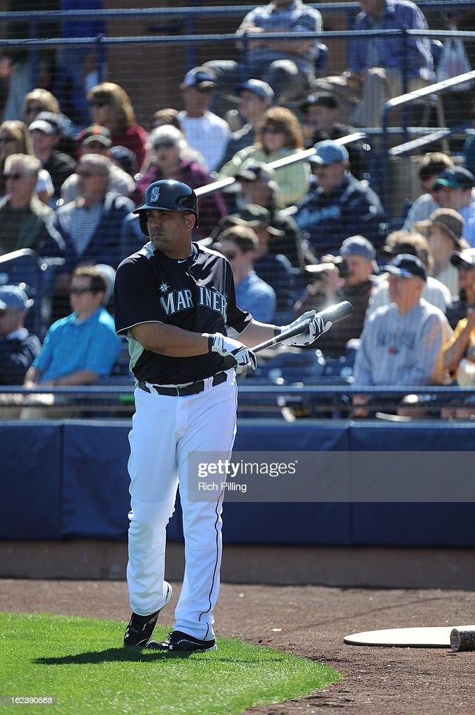 Kendrys Morales #8 of the Seattle Mariners is seen in the on deck circle during the game against the San Diego Padres on Friday, February 22, 2013 at the Peoria Sports Complex in Peoria, Arizona. The Padres defeated the Mariners 9-3.