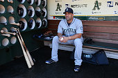 Kendrys Morales of the Seattle Mariners sits in the dugout before the game against the Oakland Athletics at Oco Coliseum on Wednesday September 3...