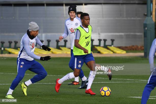 Kenedy and Charly Musonda of Chelsea during a training session at Chelsea Training Ground on November 10 2017 in Cobham England