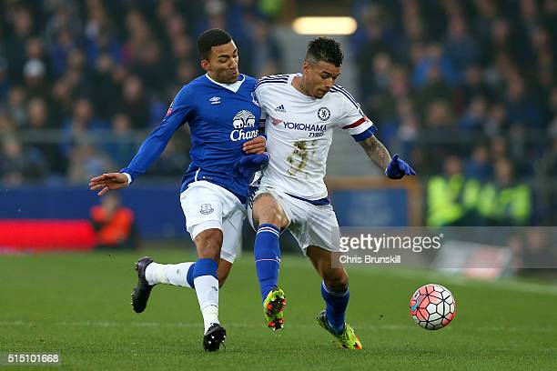 Kenedy of Chelsea and Aaron Lennon of Everton compete for the ball during the Emirates FA Cup sixth round match between Everton and Chelsea at...