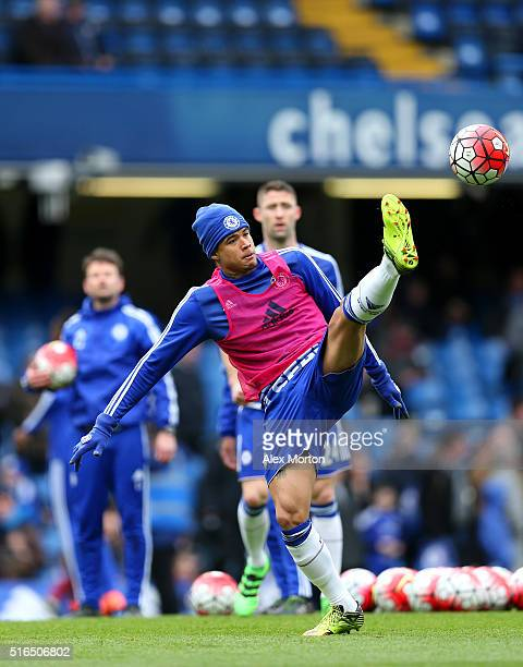 Kenedy of Chelsea warms up prior to the Barclays Premier League match between Chelsea and West Ham United at Stamford Bridge on March 19 2016 in...