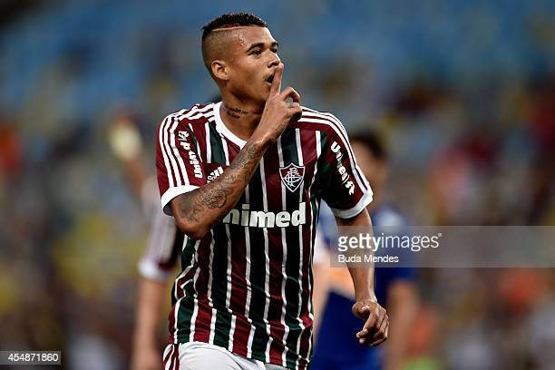 Kenedy of Fluminense celebrates a scored goal during a match between Fluminense and Cruzeiro as part of Brasileirao Series A 2014 at Maracana Stadium...