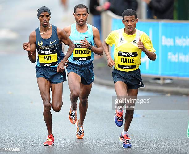 Kenenisa Bekele Haile Gebrselassie and Mo Farah race during the Great North Run on September 15 2013 in Gateshead England