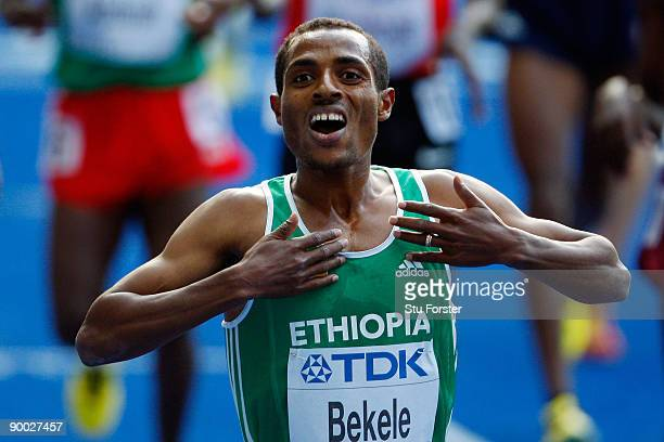 Kenenisa Bekele of Ethiopia celebrates winning the gold medal in the men's 5000 Metres Final during day nine of the 12th IAAF World Athletics...