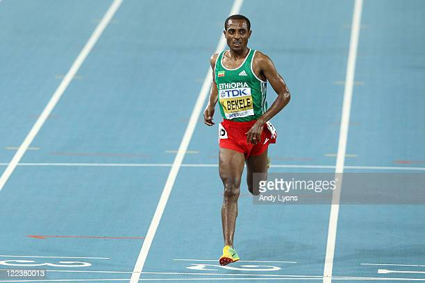 Kenenisa Bekele of Ethiopia competes in the men's 10000 metres final during day two of the 13th IAAF World Athletics Championships at the Daegu...