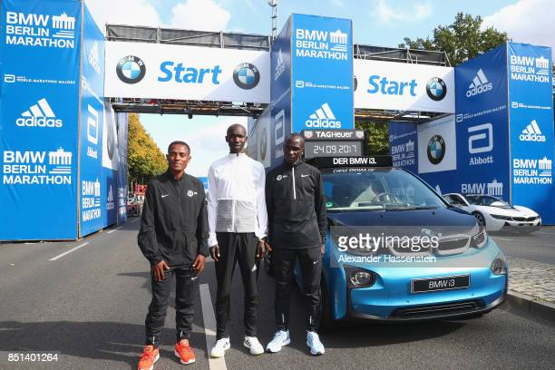 Kenenisa Bekele of Ethiopia Eliud Kipchoge of Kenia and Wilson Kipsang of Kenya pose at the starting arena for the BMW Berlin Marathon 2017 on...