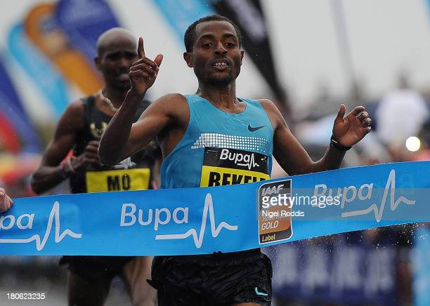 Kenenisa Bekele of Ethiopia reacts after winning the Great North Run on September 15 2013 in Gateshead England