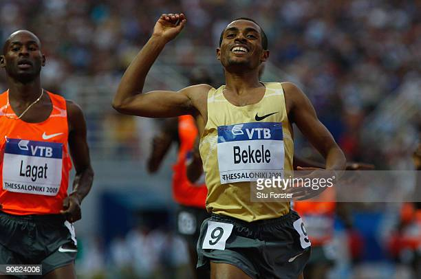 Kenenisa Bekele of Ethiopia wins the Mens 3000 metres from Bernard Lagat of the USA during day one of the IAAF World Athletics Final at the...