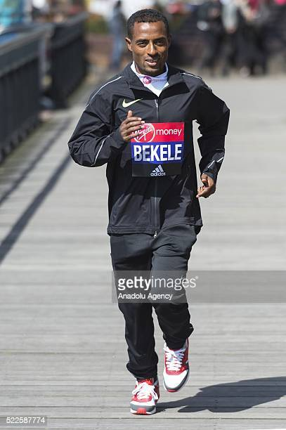 Kenenisa Bekele of Kenya poses during London Marathon photocall in London United Kingdom on April 20 2016