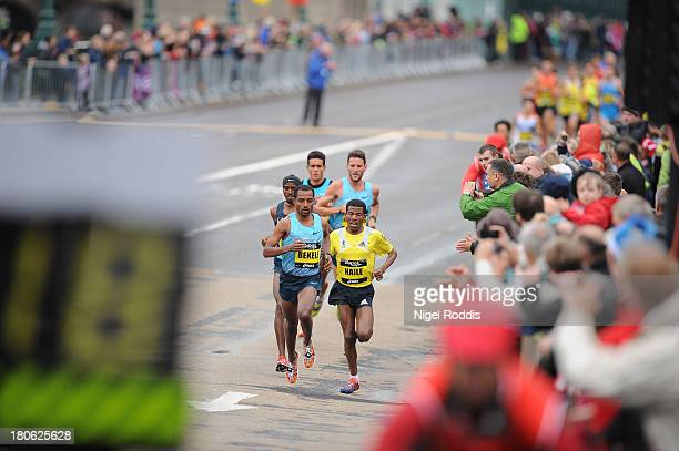 Kenenisa Bekele on his way to winning the Great North Run on September 15 2013 in Gateshead England