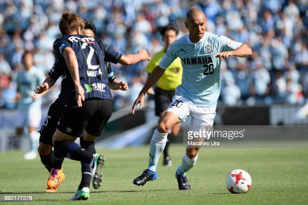 Kengo Kawamata of Jubilo Iwata and Genta Miura of Gamba Osaka compete for the ball during the JLeague J1 match between Jubilo Iwata and Gamba Osaka...