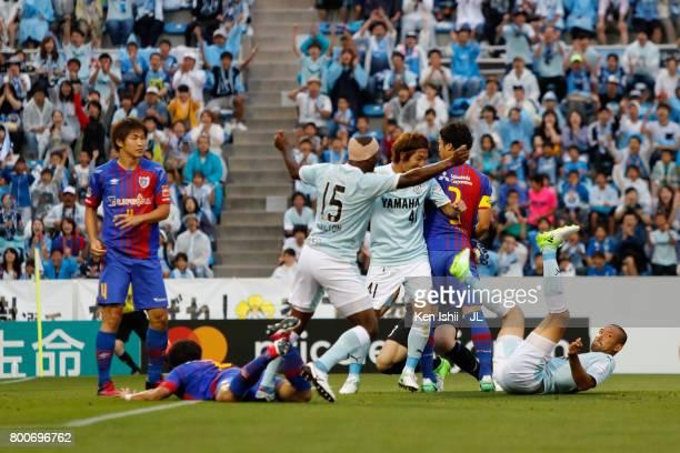 Kengo Kawamata of Jubilo Iwata celebrates scoring the opening goal during the JLeague J1 match between Jubilo Iwata and FC Tokyo at Yamaha Stadium on...