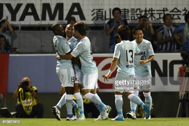 Kengo Kawamata of Jubilo Iwata celebrates scoring the opening goal with his team mates during the JLeague J1 match between Jubilo Iwata and Ventforet...